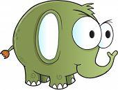 Tough Green Elephant Vector Illustration Art