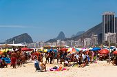Crowded Copacabana beach on hot summer day