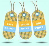 Three tags with text, last chance, special offer, hot price
