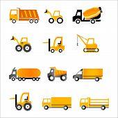 Set of truck orange icons - Illustration