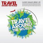 Travel Around The World Conceptual Illustration.