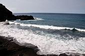 Black Sand Beach Of Pisqueiro With Waves