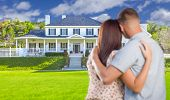 picture of nice house  - Affectionate Military Couple Looking at Nice New House - JPG