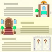 Entrance flat vector icons