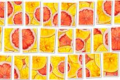 Pink Grapefruits And Oranges Mix Colorful Sliced Fruits  Collage