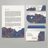 Business Artworks With Colored Floral Pattern.
