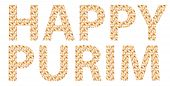 Traditional Jewish holiday - Happy Purim written in English with Hamantaschen letters