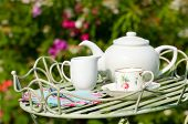 stock photo of tea party  - Garden tea party with pretty cup and saucer on butlers tray - JPG