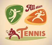Set of vintage styled tennis labels. Editable vector illustration.