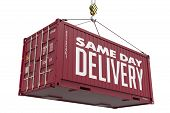 Same Day Delivery - Burgundy Hanging Cargo Container.