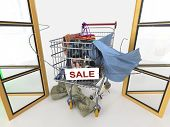 shopping sale concept background with shopping trolley on isolate white