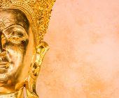 Closeup Of The Face Of Buddha's Image .