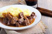 stock photo of mashed potatoes  - Beef stew with gravy and mashed potato - JPG