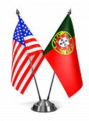 USA and Portugal - Miniature Flags.