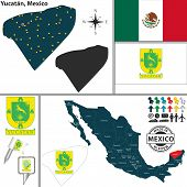 stock photo of yucatan  - Vector map of state Yucatan with coat of arms and location on Mexico map - JPG