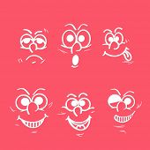 Set of funny faces showing different facial expressions on pink background.