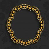 picture of heptagon  - Beautiful golden frame in heptagon shape and blank space for your message on floral decorated background - JPG