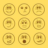 Funny smiley set with different facial expressions on yellow background.