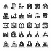 stock photo of school building  - Common buildings and places like government police hospital church cafe bank restaurant theater cinema fuel station night club temple sinagogue cemetery vector icon set - JPG