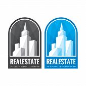 Real estate vector logo concept illustration in grayscale and blue color. Abstract buildings vector