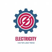 Постер, плакат: Electricity vector logo concept illustration Gear logo Factory logo Technology logo Mechanical
