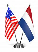 USA and Netherlands - Miniature Flags.