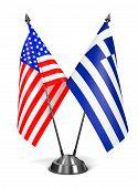 USA and Greece - Miniature Flags.