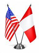 USA and Peru - Miniature Flags.