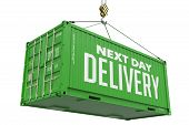 Next Day Delivery - Green Hanging Cargo Container.