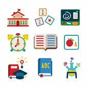 pic of school building  - Set of vector colorful education icons in flat style like school building alphabet cube book alarm clock chemical flask and graduation hat - JPG