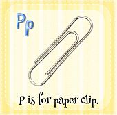 Illustration of a letter p is for paper clip