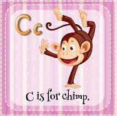 Illustration of a letter C is for chimp
