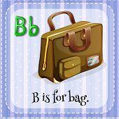 Illustration of a letter B is for bag