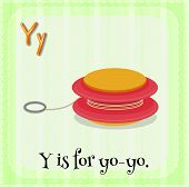 Illustration of a letter y is for yo-yo