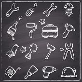 Chalkboard style tools icons