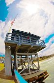 Wide Angle San Clemente Pier Life Guard Tower
