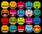 Vecthttp://www.bigstockphoto.com/es/account/uploads/contributor Set Of Different Cartoon Pixel Faces