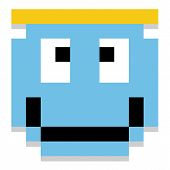 Vector Cute Cartoon Pixel Angel Face Isolated