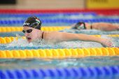 GRAZ, AUSTRIA - APRIL 05, 2014: Adel Juhasz (Hungary) places 2nd in the women's 200m butterfly event in an indoor swimming meeting.