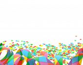 Confetti and party streamer on white background