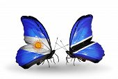 Two Butterflies With Flags On Wings As Symbol Of Relations Argentina And Botswana