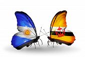 Two Butterflies With Flags On Wings As Symbol Of Relations Argentina And Brunei