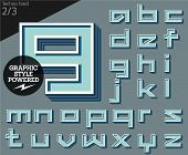 Vector illustration of an old fashioned alphabet. Techno hard. Set 2