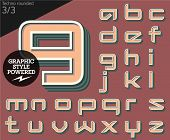 Vector illustration of an old fashioned alphabet. Techno rounded. Set 2