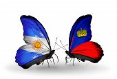 Two Butterflies With Flags On Wings As Symbol Of Relations Argentina And Liechtenstein