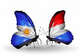 Two Butterflies With Flags On Wings As Symbol Of Relations Argentina And  Luxembourg