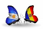Two Butterflies With Flags On Wings As Symbol Of Relations Argentina And Moldova