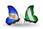 Two Butterflies With Flags On Wings As Symbol Of Relations Argentina And Nigeria