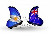 Two Butterflies With Flags On Wings As Symbol Of Relations Argentina And New Zealand