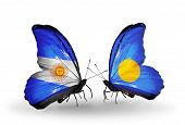 Two Butterflies With Flags On Wings As Symbol Of Relations Argentina And Palau